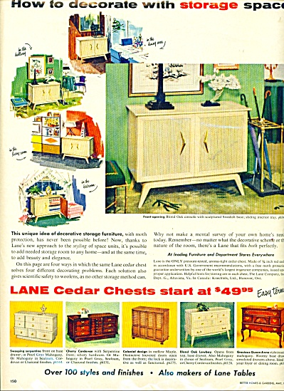 1956 LANE TABLES AD Swedish OAK Cedar Chest (Image1)
