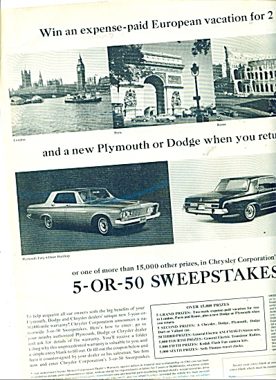 Chrysler Corporation sweepstakes ad (Image1)
