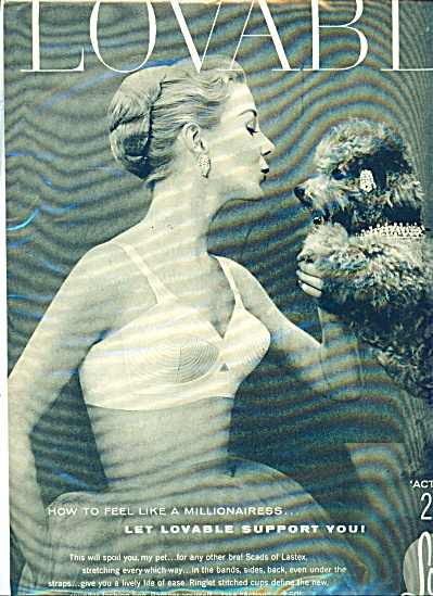 1950s Lovable Bra Ad Woman Kissing Dog
