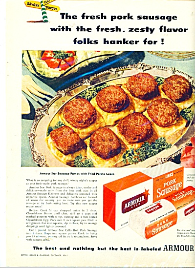 Armour star pork sausage ad - 1946 (Image1)
