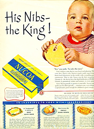 1940's Nucoa Oleomargarine ad BABY NIBS KING (Image1)
