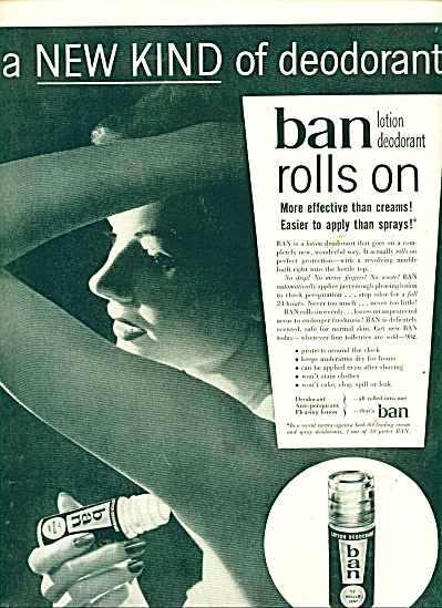 Ban Roll On Deodorant Ad - 1955