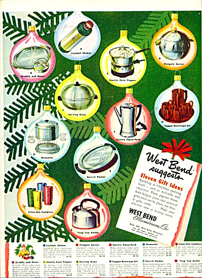 1949 West Bend Aluminum Print AD - Penguin Coffee Cups  (Image1)