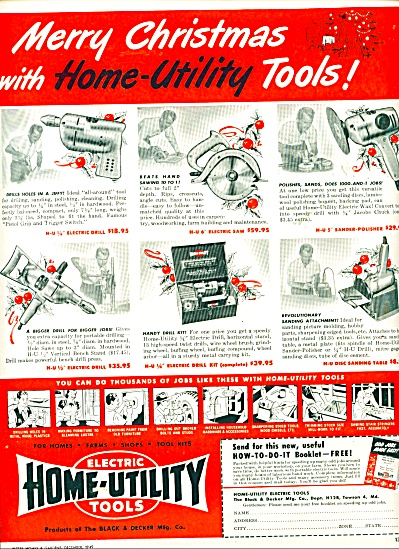 Electric Home Utility Tools Ad - 1949