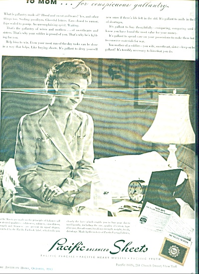 1943 Pacific sheets ad SOLDIER TO MOM GALLANT (Image1)