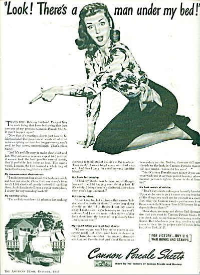 1943 Cannon Sheets AD Husband BILL UNDER BED (Image1)