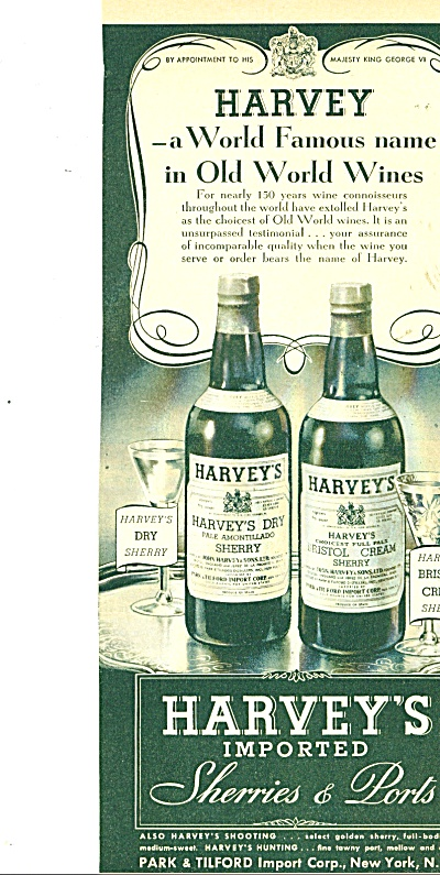 Harvey's Imported sherries & Ports ad   1944 (Image1)