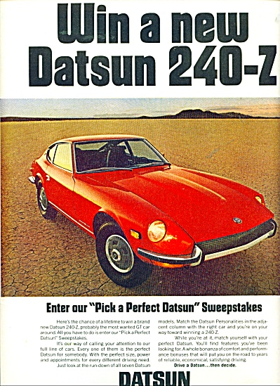 Datsun, product of Nissan auto ad - 1971 (Image1)