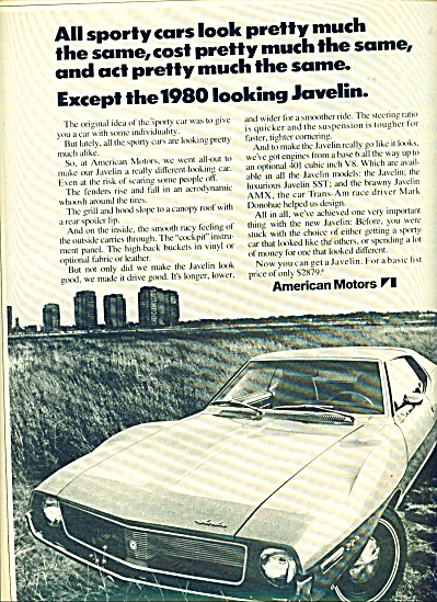 1971 American Motors Javelin AMC Car AD (Image1)