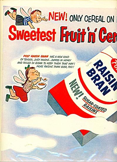 1955 Post Raisin Bran Cereal Cartoon Print AD Kid Angel (Image1)