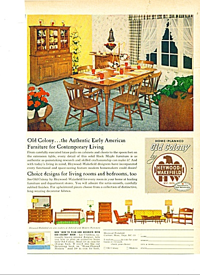 1950 s Heywood Wakefield OLD Colony Print furniture AD (Image1)
