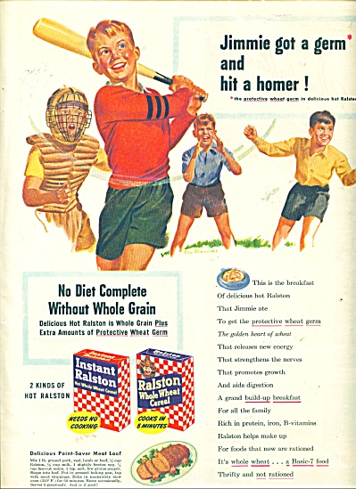 1943 Ralston Purina Cereal Print AD Jimmie Got a Germ  (Image1)