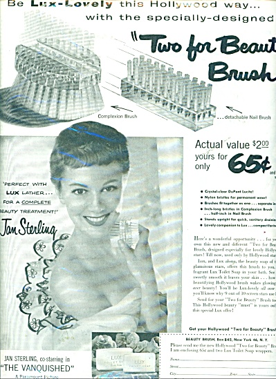 1953 Lux Soap Ad Jan Sterling Actress