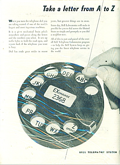 1946 Bell Telephone VINTAGE PHONE DIAL AD (Image1)
