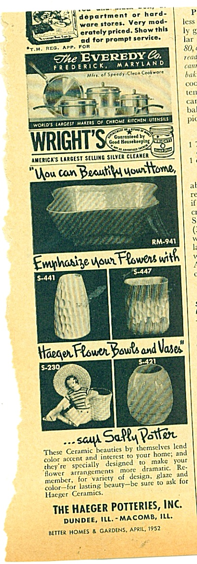 The Haeger Potteries, Inc. ad (Image1)