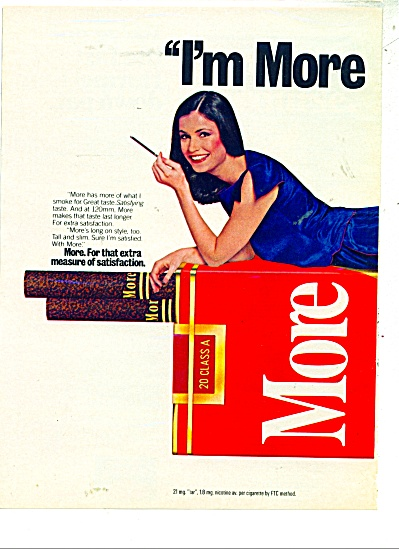 1980's More Cigarettes Ad Beautiful Model