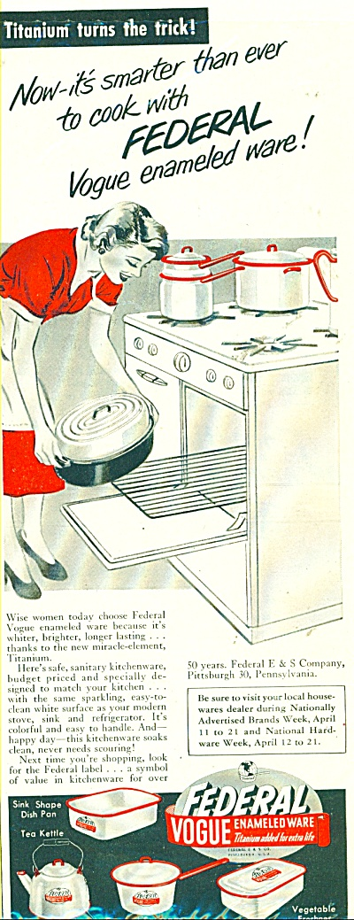 Federal Vogue enameled ware  ad - 1951 (Image1)