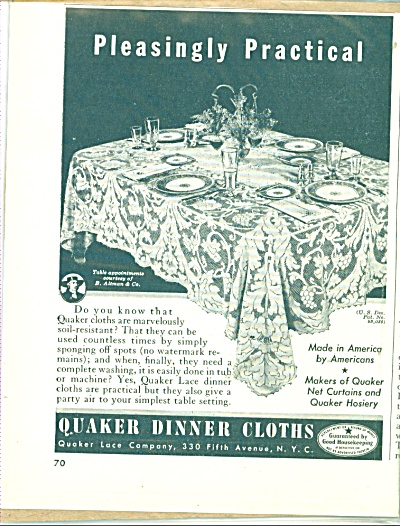Quaker dinner cloths ad - 1940s (Image1)