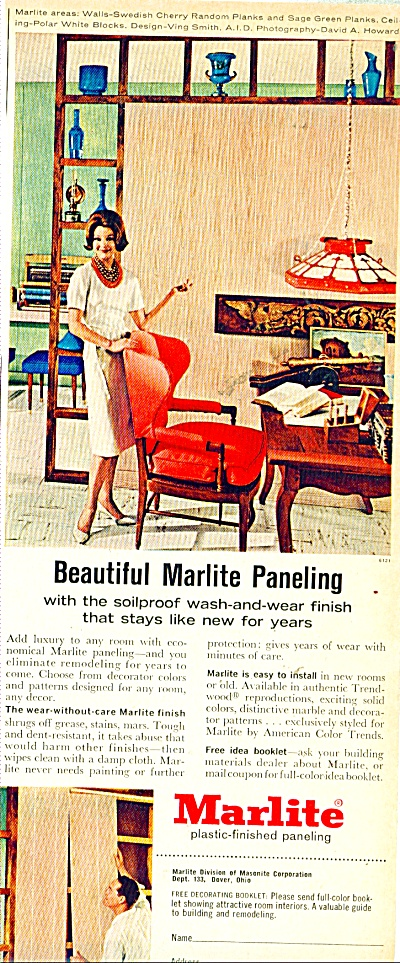 Marlite plastic finished paneling ad - 1962 (Image1)