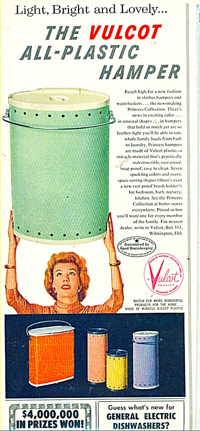 The Vulcot all plastic hamper ad - 1956 (Image1)
