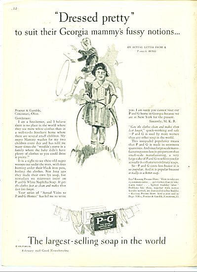 1928 P & G Proctor Gamble SOAP AD ART MAMMY (Image1)