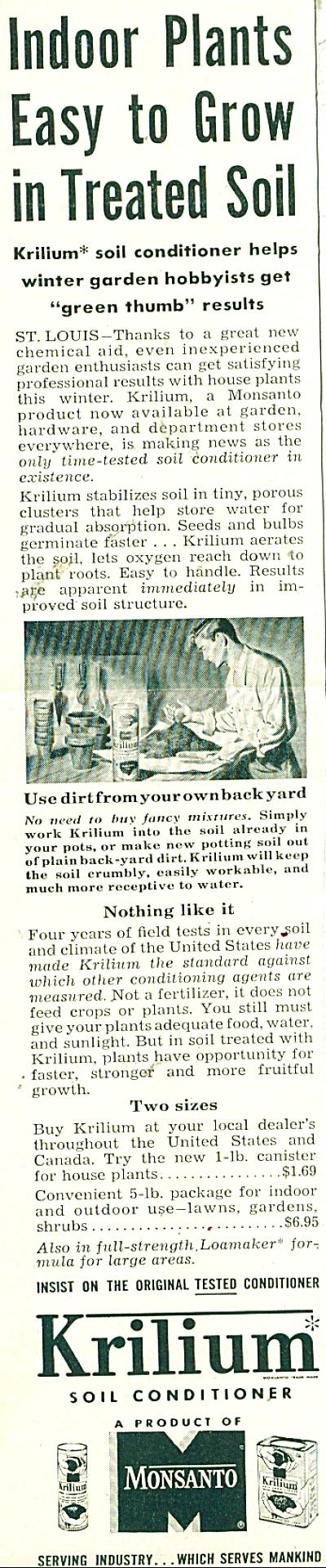 Krilium soild conditioner ad - 1952 (Image1)