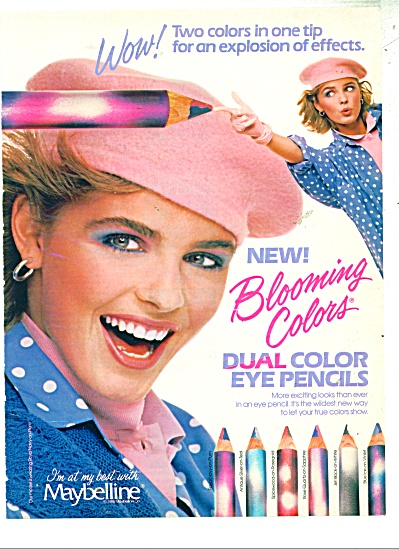 1986 Maybelline BLOOMING COLORS AD (Image1)