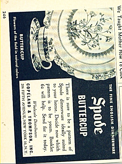 Spode buttercup dinnerware ad - 1952 (Image1)