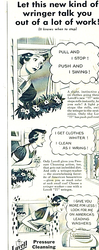 Lovell pressure cleansing wringers ad - 1950 (Image1)