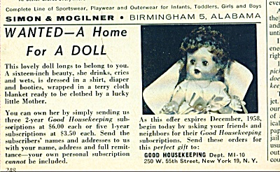 Wanted - a home for a doll ad   - 1958 (Image1)