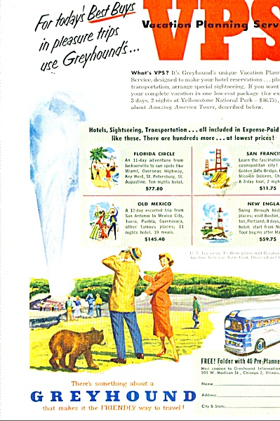 1952 Greyhound Travel BUS LINES AD GEYSER #2 (Image1)