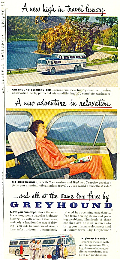 1955 Greyhound Travel BUS LINES AD Luxury (Image1)