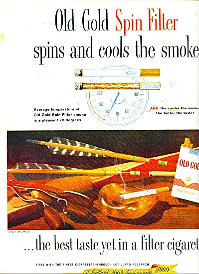 1960 Old Gold Spin Filter Cigarettes AD (Image1)