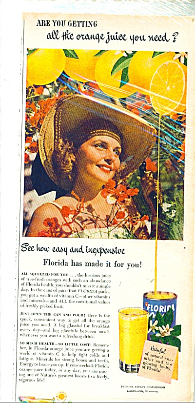 Florida Canned Orange Juice Ad - 1949