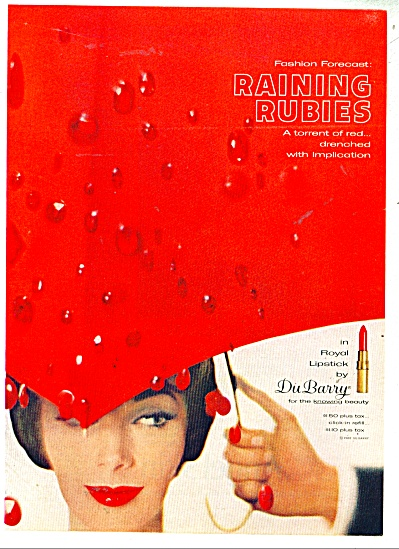 1962 DuBarry ROYAL RED Lipstick RAINING AD (Image1)
