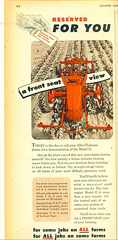 Allis Chalmers Tractor Ad - 1949