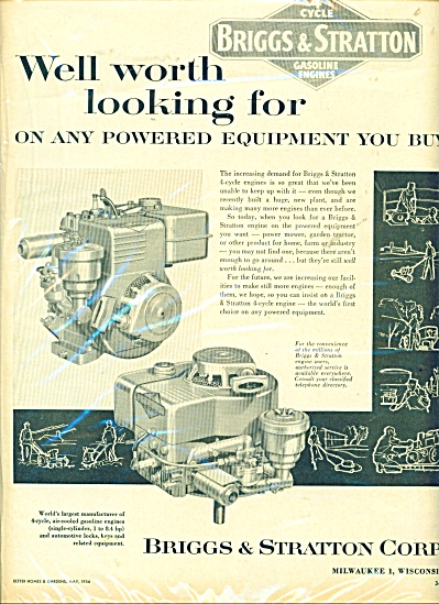 Briggs & Stratton gasoline engines ad - 1956 (Image1)