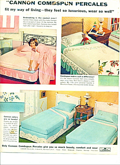 Cannon combspun percales ad    1958 (Image1)