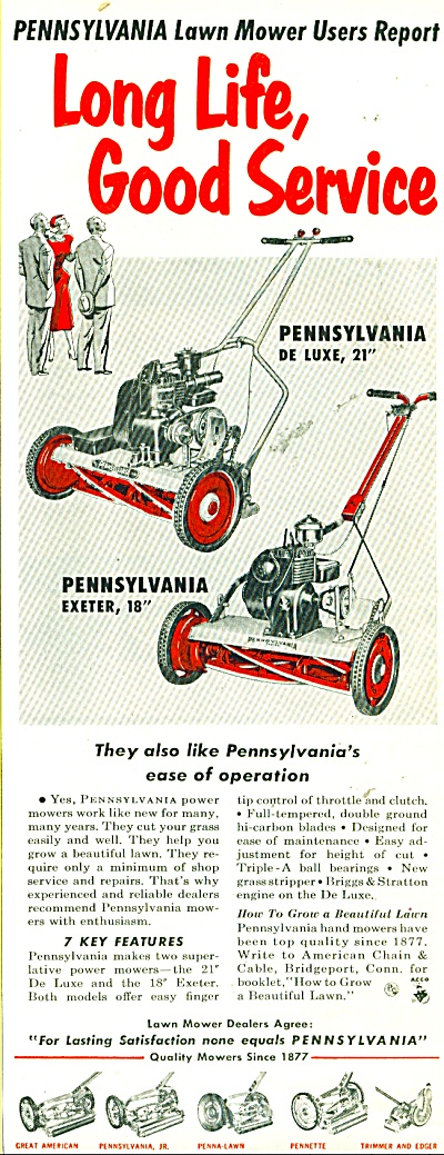 Pennsylvania Lawn Mower Ad - 1953