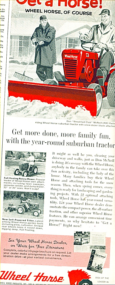 Wheel Horse Lawn Tractor Ad 1961