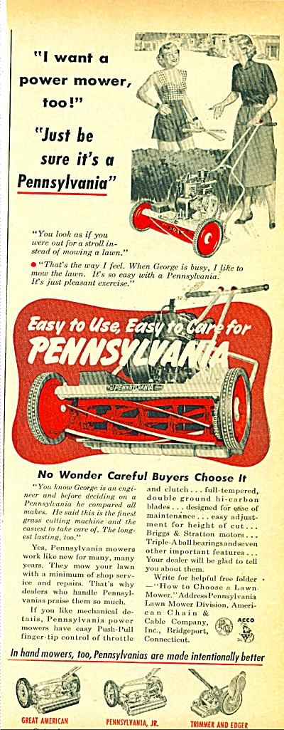 Pennsylvania Lawn Mower - 1952
