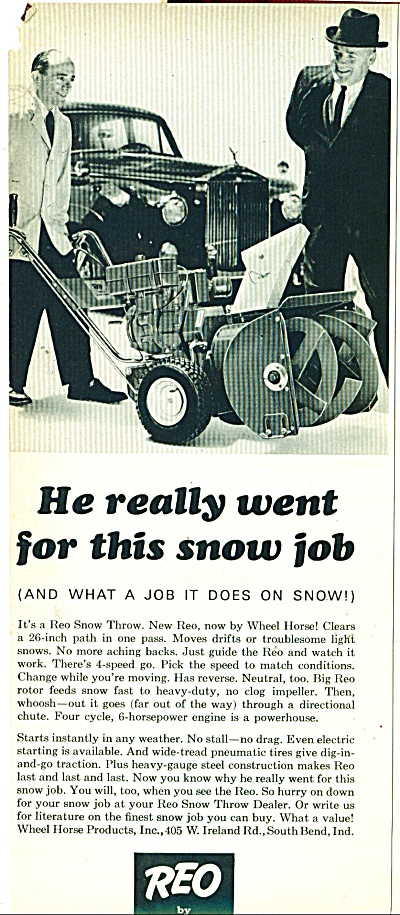 Reo By Wheel Horse Snow Blower.