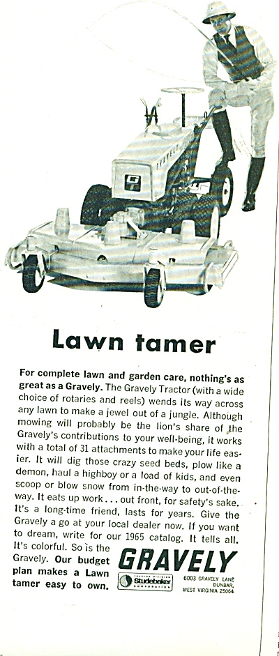 Gravelly  lawn tractor ad - 1963 (Image1)