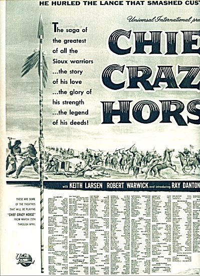 Chief Crazy Horse Movie ad - 1955 (Image1)