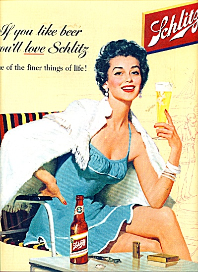 1955 Schlitz Beer Ad Beautiful Woman Swimsuit