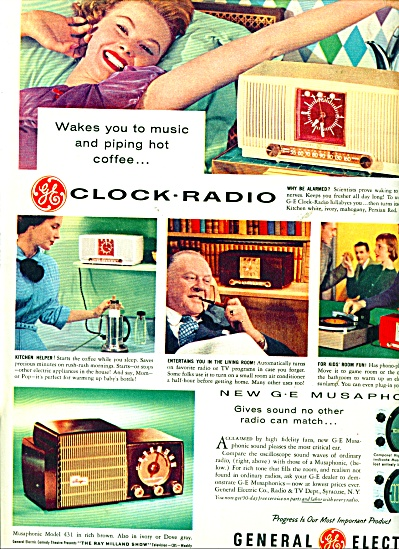 General Electric Clock Radio Ad - 1955