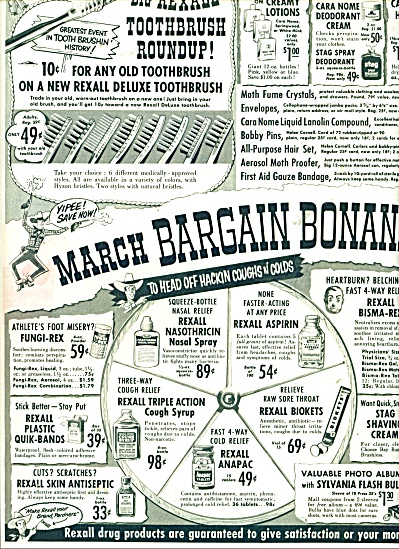 1955 Rexall Drug AD March Bargain Bonanza (Image1)