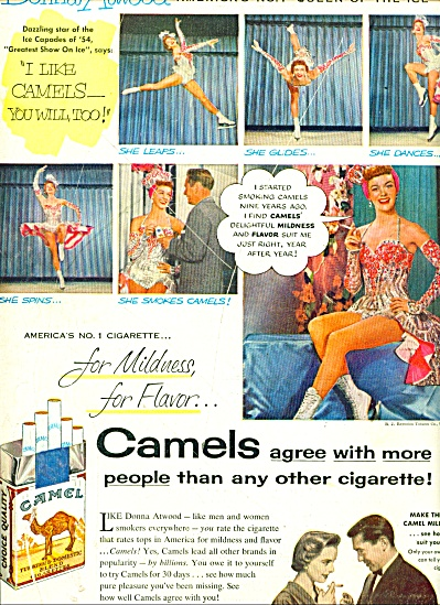 1954 Camel Donna Atwood Queen Ice Capades Ad