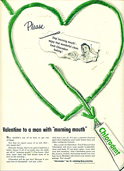 Chlorodent chlorophyll toothpaste ad - 1954 (Image1)