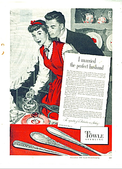 1947 Towle Sterling ad PERFECT HUSBAND (Image1)